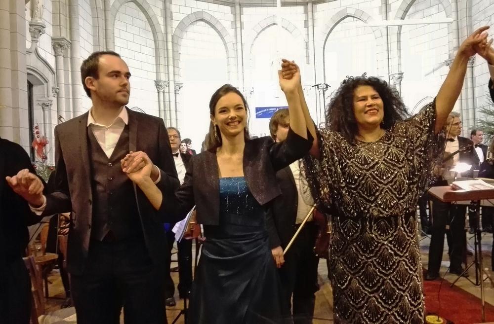 Gautier Joubert (Oroveso), Clémence Olivier (Adalgisa) et Catherine Manandaza (Norma) © Photo Jean-Marcel Humbert